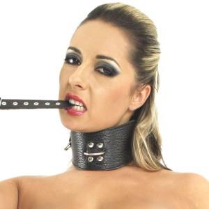 ledapol 5449 SM leder halsband - halsfessel mit ketten