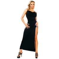 ledapol 3026 langes kleid - stoff kleid - fetish stretch kleid