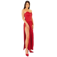ledapol 3067 langes kleid - satin kleid - fetish korsettkleid