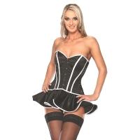 ledapol 3174 satin korsett kleid - sexy stoff korsett minikleid
