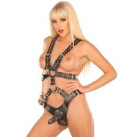 ledapol 5506 womens leather dildo body - harness dildo