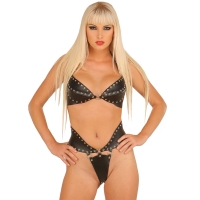ledapol 5512 + 5513 leder büstenhalter + slip - 2 teilig als set - sexy lingerie