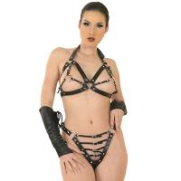 ledapol 5604 + 5605 leder büstenhalter + slip - 2 teilig als set - sexy lingerie