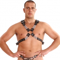 ledapol 878 sm leather chest harness - gay harness